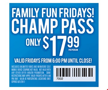 Champ pass only $17.99