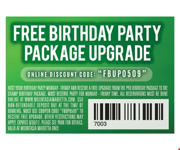Free Birthday Party Package Upgrade