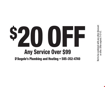 $20 Off Any Service Over $99. Not to be combined with any other discount or offer. Offer expires 7-17-17.