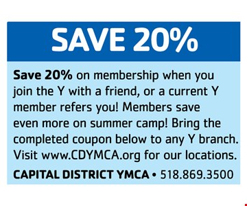 Save 20% on membership when join the Y