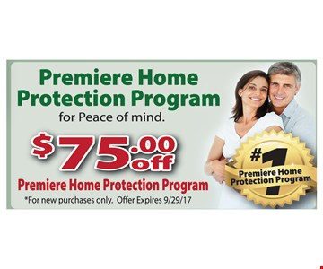 $75.00 Off Premiere Home Protection Program