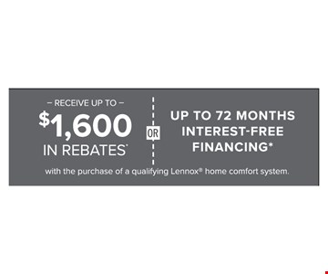 $1,600 In Rebates Or Up To 72 Months Interest Free Financing