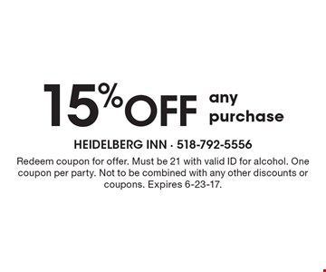 15% off any purchase. Redeem coupon for offer. Must be 21 with valid ID for alcohol. One coupon per party. Not to be combined with any other discounts or coupons. Expires 6-23-17.
