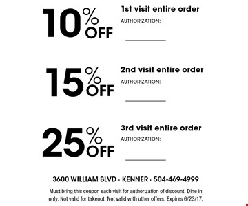 10% Off 1st visit entire order, 15% Off 2nd visit entire order, 25% Off 3rd visit entire order. Must bring this coupon each visit for authorization of discount. Dine in only. Not valid for takeout. Not valid with other offers. Expires 6/23/17.