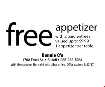 Free appetizer with 2 paid entrees. Valued up to $9.99. 1 appetizer per table. With this coupon. Not valid with other offers. Offer expires 6/23/17.