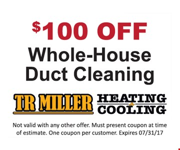 $100 off whole-house duct cleaning