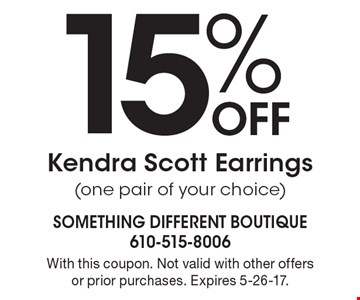 15% Off Kendra Scott Earrings (one pair of your choice). With this coupon. Not valid with other offers or prior purchases. Expires 5-26-17.