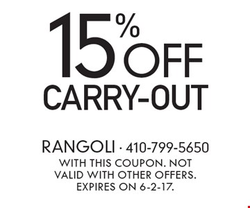 15% off carry-out. With this coupon. Not valid with other offers. Expires on 6-2-17.
