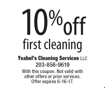 10%off first cleaning. With this coupon. Not valid with other offers or prior services.Offer expires 6-16-17.