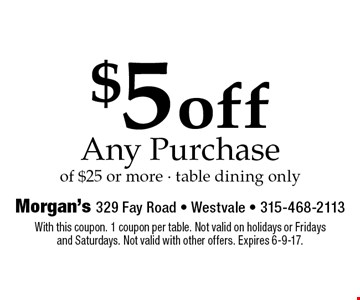 $5 off Any Purchase of $25 or more - table dining only. With this coupon. 1 coupon per table. Not valid on holidays or Fridays and Saturdays. Not valid with other offers. Expires 6-9-17.