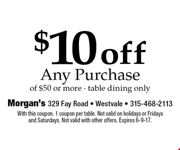 $10 off Any Purchase of $50 or more - table dining only. With this coupon. 1 coupon per table. Not valid on holidays or Fridays and Saturdays. Not valid with other offers. Expires 6-9-17.