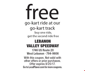 free go-kart ride at our go-kart track buy one ride, get the second ride free. With this coupon. Not valid with other offers or prior purchases. Offer expires 8/25/17.Go to LocalFlavor.com for more coupons.