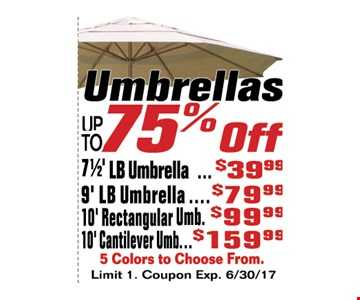 Umbrellas up to 75% off