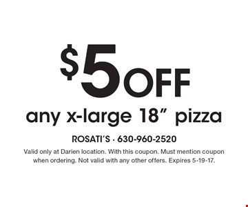 $5 off any x-large 18