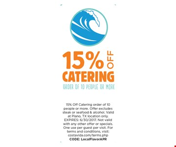 15% OFf Catering