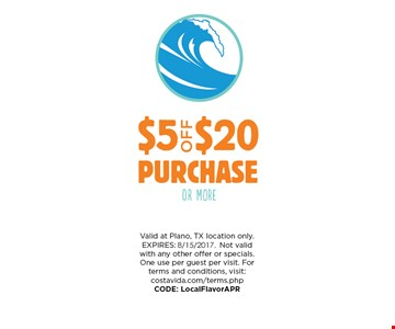 $5 Off $20 Purchase