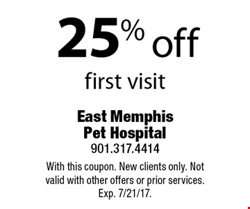 25% off first visit. With this coupon. New clients only. Not valid with other offers or prior services. Exp. 7/21/17.