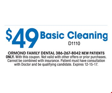 $49 Basic Cleaning new patients only