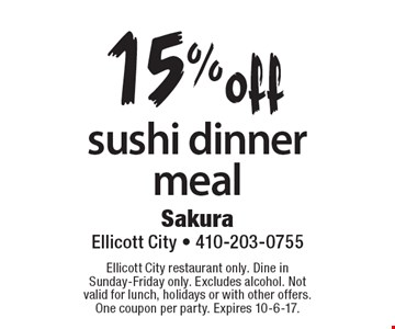 15%off sushi dinner meal. Ellicott City restaurant only. Dine in Sunday-Friday only. Excludes alcohol. Not valid for lunch, holidays or with other offers. One coupon per party. Expires 10-6-17.