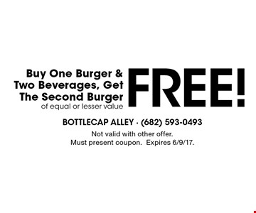 Free Burger! Buy one burger & two beverages, get the second burger of equal or lesser value free. Not valid with other offer. Must present coupon. Expires 6/9/17.