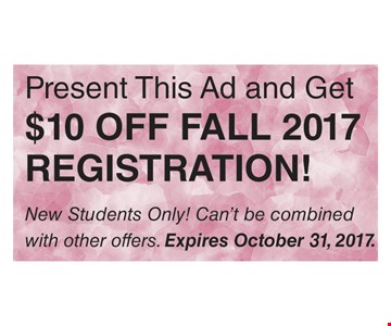 $10 off 2017 Fall registration