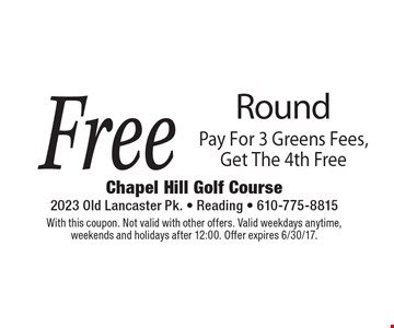 Free Round Pay For 3 Greens Fees, Get The 4th Free. With this coupon. Not valid with other offers. Valid weekdays anytime, weekends and holidays after 12:00. Offer expires 6/30/17.