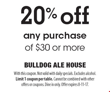 20% off any purchase of $30 or more. With this coupon. Not valid with daily specials. Excludes alcohol. Limit 1 coupon per table. Cannot be combined with other offers or coupons. Dine in only. Offer expires 8-11-17.