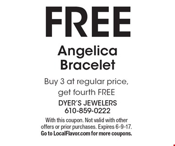 Free Angelica Bracelet Buy 3 at regular price, get fourth FREE. With this coupon. Not valid with other offers or prior purchases. Expires 6-9-17. Go to LocalFlavor.com for more coupons.
