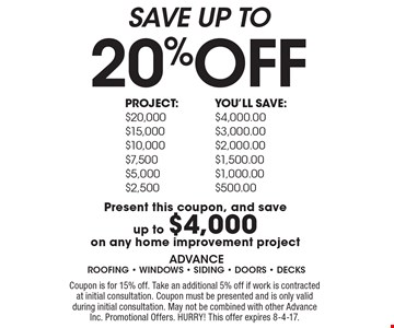 SAVE UP TO 20%OFF. Present this coupon, and save up to $4,000 on any home improvement project. Coupon is for 15% off. Take an additional 5% off if work is contracted at initial consultation. Coupon must be presented and is only valid during initial consultation. May not be combined with other Advance Inc. Promotional Offers. HURRY! This offer expires 8-4-17.