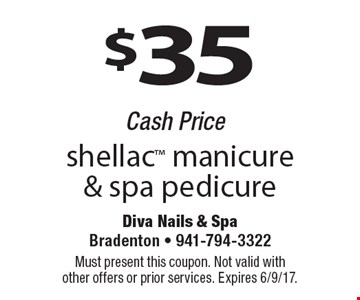 $35 shellac manicure & spa pedicure Cash Price. Must present this coupon. Not valid with other offers or prior services. Expires 6/9/17.
