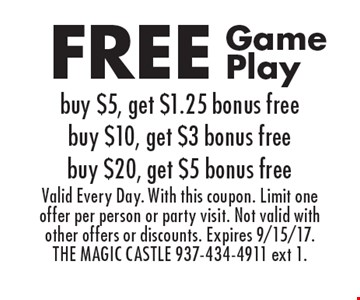FREE Game Play, buy $5, get $1.25 bonus free, buy $10, get $3 bonus free, buy $20, get $5 bonus free. Valid Every Day. With this coupon. Limit one offer per person or party visit. Not valid with other offers or discounts. Expires 9/15/17. THE MAGIC CASTLE 937-434-4911 ext 1.