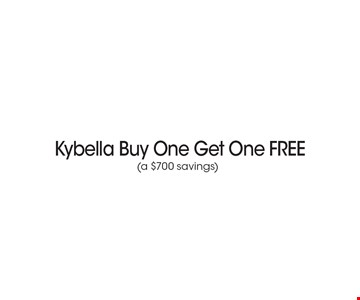 Kybella Buy One Get One FREE (a $700 savings). *Must present coupon. This limited time offer expires 6-9-17. Cannot be combined with other offers or promotions. 1 coupon per client per treatment. Some exclusions and restrictions may apply. Call for more details.