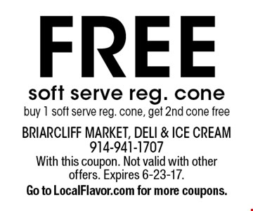 Free soft serve reg. cone . Buy 1 soft serve reg. cone, get 2nd cone free. With this coupon. Not valid with other offers. Expires 6-23-17. Go to LocalFlavor.com for more coupons.