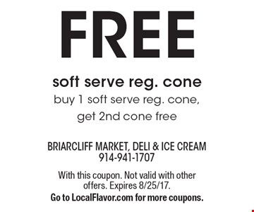 Free soft serve reg. cone. Buy 1 soft serve reg. cone, get 2nd cone free. With this coupon. Not valid with other offers. Expires 8/25/17. Go to LocalFlavor.com for more coupons.