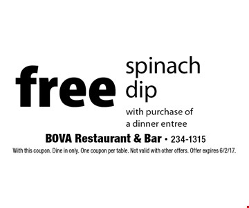 Free spinach dip with purchase of a dinner entree. With this coupon. Dine in only. One coupon per table. Not valid with other offers. Offer expires 6/2/17.