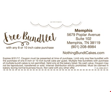 Free bundtlet with andy 8 or 10 inch cake purchase