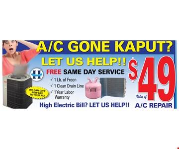 A/C repair $49
