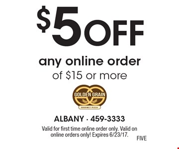 $5 off any online order of $15 or more. Valid for first time online order only. Valid on online orders only! Expires 6/23/17.