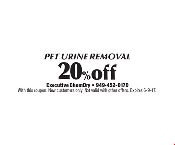 20%off PET URINE REMOVAL. With this coupon. New customers only. Not valid with other offers. Expires 6-9-17.