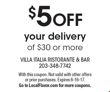 $5 Off your delivery of $30 or more. With this coupon. Not valid with other offers or prior purchases. Expires 6-16-17.Go to LocalFlavor.com for more coupons.