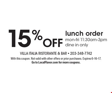 15% Off lunch order. Mon-fri 11:30am-3pm. Dine in only. With this coupon. Not valid with other offers or prior purchases. Expires 6-16-17.Go to LocalFlavor.com for more coupons.