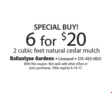 SPECIAL BUY! 6 for $20. 2 cubic feet natural cedar mulch. With this coupon. Not valid with other offers or prior purchases. Offer expires 6-18-17.
