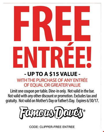 Famous dave's coupon code