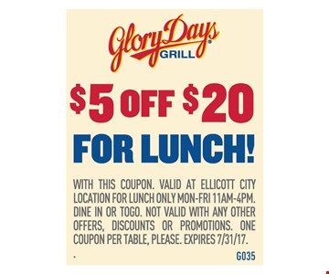 $5 Off $20 For Lunch!