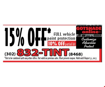 15% Off full vehicle paint protection. Valid until August 31, 2017.