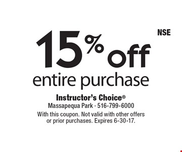 15% off entire purchase. With this coupon. Not valid with other offers or prior purchases. Expires 6-30-17.