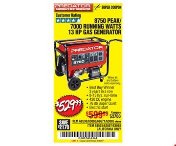 $529.99 8750 Peak/7000 Running Watts 13 HP Gas Generator