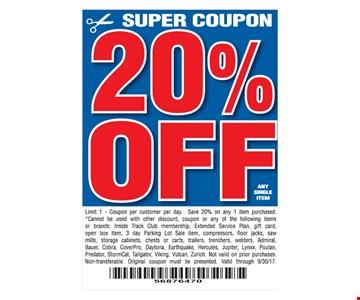 20% Off Super Coupon