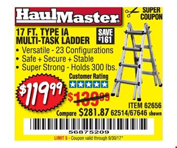 $119.99 17ft. TypeIA Multi-Task Ladder