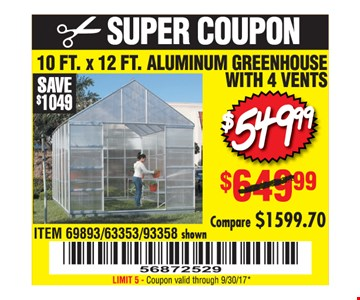 $549.99 10 ft. x 12 ft. Aluminum Greenhouse with 4 Vents